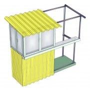 установка крыши на балконе в разрезе
